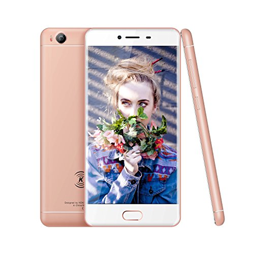 Handy 8mp Kamera Unlocked Mit (KENXINDA V7 Dual SIM 4G Handys, Günstiges smartphone ohne Vertrag, Touchscreen digitales 5,0 Zoll Display, Fingerabdruck Sensor, 2GB+16GB interner Speicher, Batteriekapazität 2250 mAh(Roségold))
