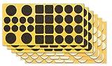 clapur Filzgleiter-Set (192 Stk.) Hochwertige Nadelfilz-Gleiter, Selbstklebend, Extra druckfest. Für Möbel, Stühle und Tische - Farbe: schwarz/Weiss, Form: rund/eckig