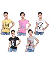 Girls Shopping Girls' Regular Fit T-Shirt (Pack of 5)