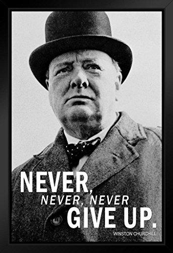 Leiter Gerahmt (Winston Churchill Never Never Never Give up Schwarz und Weiß Zitat Poster, gerahmt von proframes 35,6x 50,8cm)