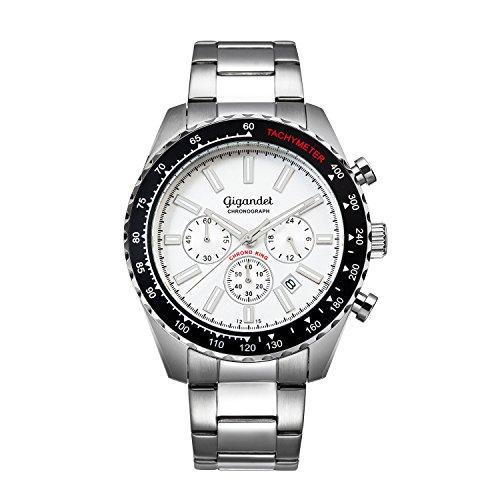 Gigandet Quarz Herren-Armbanduhr Chrono King Chronograph Uhr Datum Analog Edelstahlarmband Silber Schwarz G28-002