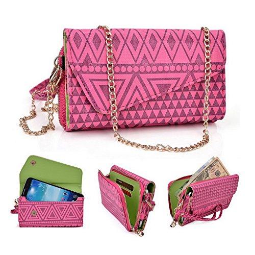 Kroo Clutch Wristlet Wallet passt 16cm Smartphones et Phablets pour Nokia Lumia 1320/1520 White with Mint Blue rose