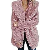 ESAILQ Damen Künstlicher Wollmantel Jacke Revers Winter Oberbekleidung Warmer (Large,Rosa)