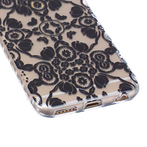 SpiritSun Etui Coque TPU Slim pour Apple iPhone 6 4.7 pouces Souple Housse Protection Flexible Soft Case Cas Couverture Anti-Rayures Mince Légère Transparente Silicone Cover - Fleur Bleu Fleur Noir