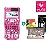 Casio FX 85 GT Plus Pink + Geometrie-Set + Lern-CD + Erweiterte Garantie