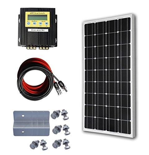 ECO-WORTHY 100W Solaranlage 12V Mono Solarmodul Bausatz W/ 20A MPPT Regler Laderegler