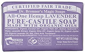Dr. Bronner's Organic Pure Castile Bar Soap, Lavender, 5 oz by Dr. Bronner's