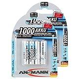 ANSMANN Wiederaufladbar Akku Batterie Micro AAA Typ 1000mAh NiMH hochkapazitiv Hohe Kapazität Ohne Memory-Effekt Profi Digital Kamera-Akkubatterie 8er Pack