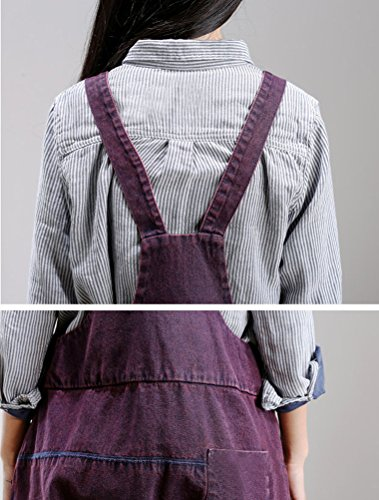 MatchLife Damen Jeans Latzhose Hosen Jumpsuits Style3-Lila