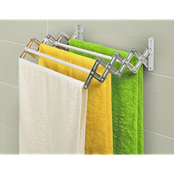 artmoon alberta clothes dryer airer extendable wall mounted 5 pull out rails painted steel white 50x38