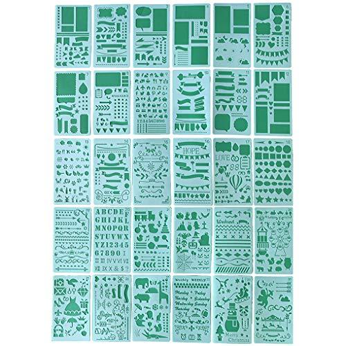 Jinzuke 30PCS / Set Journal Stencil Kunststoff-Planer Kit Journal/Notebook/Tagebuch/Scrapbook DIY Zeichenvorlage Werkzeug