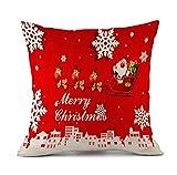Federa di Natale, Scpink Babbo Natale e Fiocchi di Neve Buon Natale Divano in Lino per Auto Decori Cuscino Quadrato 18x18 (B)