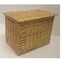 Buff Willow Wicker Storage Chests / Lids / Baskets / Crafts / Trunk / Large / XL (Small: L37 cm x W25 cm x H22 cm)