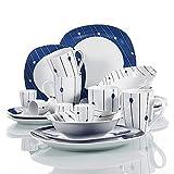 VEWEET 'Dot' Service de Petit déjeuner en Porcelaine | Service de Table de 20 pièces avec Bols à céréales de 440 ML, coquetier, Tasse à café de 350 ML, Assiette à Dessert, Assiette à dîner