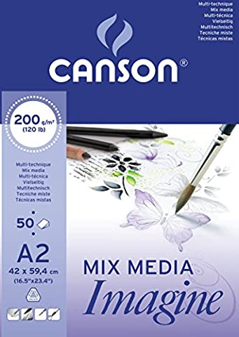 Canson 200006003 Imagine Mix-Media Papier, A2, rein