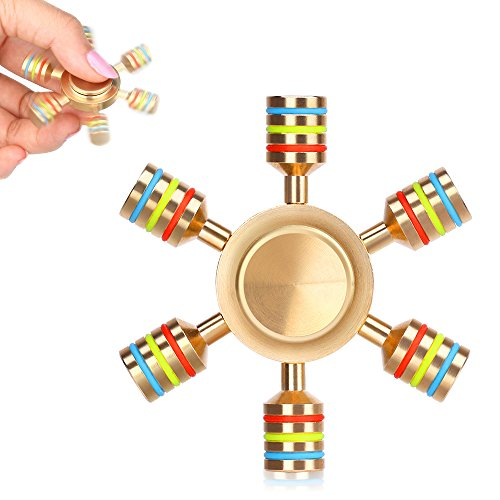 AUKWING 6 Point Hexagon Fidget Hand Spinner Toys Solid Brass R188 Hybrid Ceramic Ball Bearing Detachable Wings for Time Killing Stress Reducer Relieves EDC Focus ADHD Anxiety and Boredom