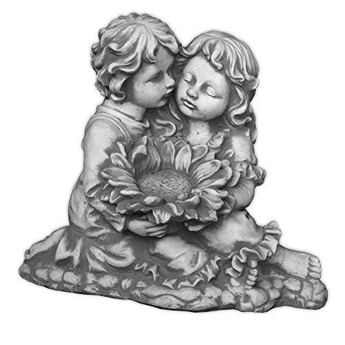 gartendekoparadies.de Massive Steinfigur Kinderfigur mit Sonnenblume aus Steinguss frostfest