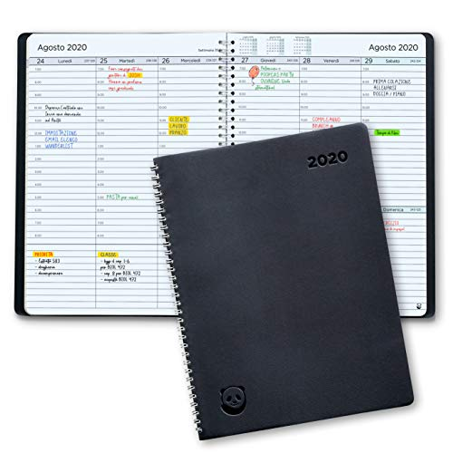 Diario 2020 di SmartPanda - Agenda 2020 Settimanale - Design Semplice per Stimolare la Produttività - Copertina Morbida, Intervalli di 30 Minuti - Calendario Annuale con Note - A4, in Italiano