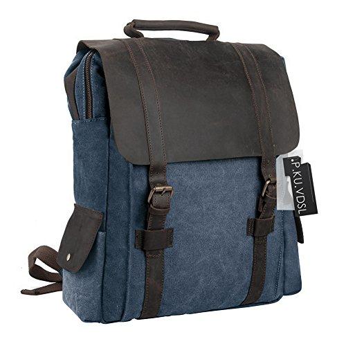 Imagen de  vintage de lona zainotelavintage p.ku.vdsl®  tipo casual y cuero bolso casual para viajes bolsa de escuela unisex adecuada para 15' cuaderno c azul profundo