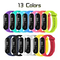 MuZhuo Xiaomi Mi Band 3 Bracelet, Mi Band 3 Straps (13 PCS) Silicone Band for XIAOMI Mi Band 3 Strap Replacement - Loss Prevention -13 Colors