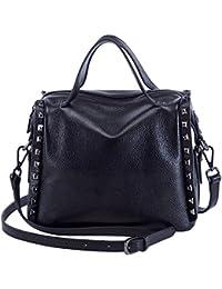 Mini Handbag For Women Elegant Top Handle Bag Satchel Tote Leather Messenger Bag (Black) By Boyatu