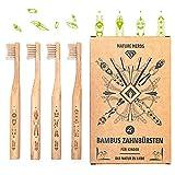 ♻ Nature Nerds – Kleine Bambus Zahnbürste für Kinder im Set (4er Pack) aus nachhaltig angebauten Bambus / 100% Vegan, 100% BPA-frei >> Härtegrad: weich