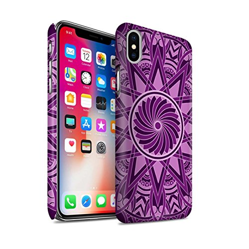STUFF4 Matte Snap-On Hülle / Case für Apple iPhone X/10 / Blumen/Blau Muster / Mandala Kunst Kollektion Sterne/Lila