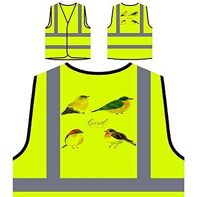 Vogelsammlung Kunst Personalisierte High Visibility Gelbe Sicherheitsjacke Weste v775v