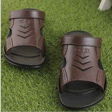 Uomo Slippers & Estate laccio dietro gomma casuale piani del tallone sandali marrone nero sandali US11.5 / EU45 / UK10.5 / CN47