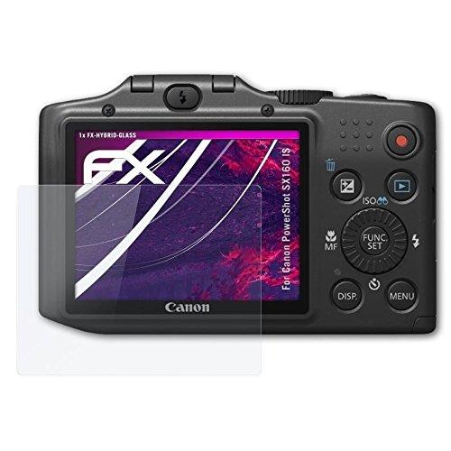 atFoliX Canon PowerShot SX160 is Glasfolie - FX-Hybrid-Glass Elastische 9H Kunststoff Panzerglasfolie - Besser als Echtglas Panzerfolie