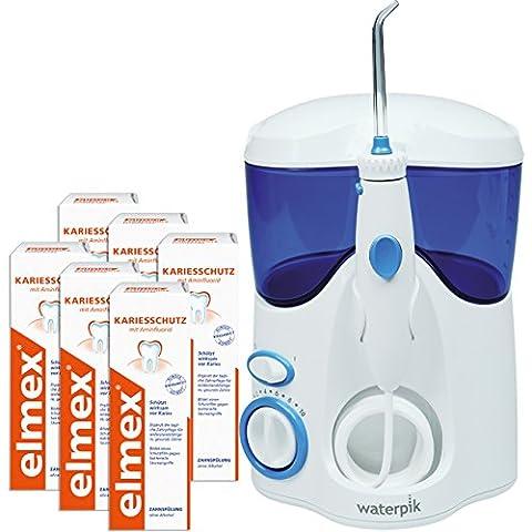 WATERPIK Munddusche Ultra WP-100E + 6 Flaschen elmex Kariesschutz Zahnspülung (6 x 100 ml)