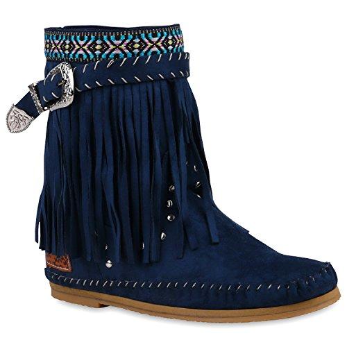 Stiefelparadies Damen Ethno Stiefel Fransen Stiefeletten Nieten Schlupfstiefel Mokassins Damen Festival Boots Schuhe 119959 Dunkelblau 36 Flandell (Frauen Blaue Für Fransen-boots)