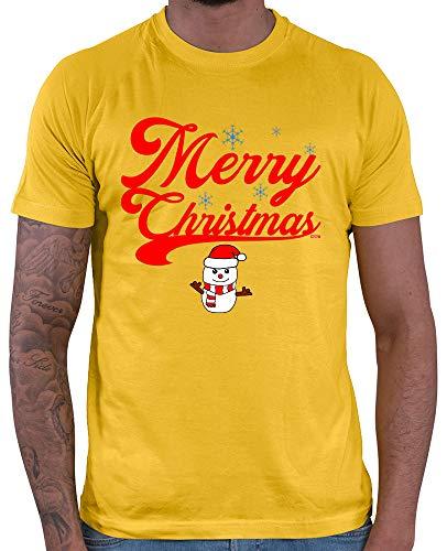 HARIZ  Herren T-Shirt Weihnachten Merry Christmas Stadt Weihnachten Xmas Schnee Liebe Plus Geschenkkarte Gold Gelb XS (Kostüm Elf Party-stadt)