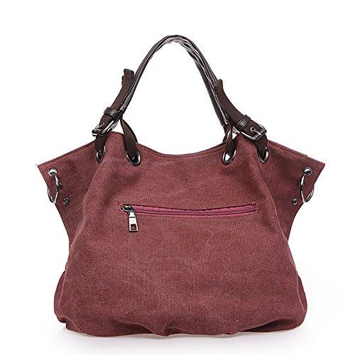 Mefly Europei e Americani Borsa moda borsa di tela di grandi borsetta kaki violet