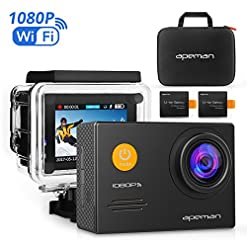 Apeman A70 Action Cam Sport WiFi con Custodia Impermeabile, Full HD 1080P, 14MP, 170° Grandangolare, 2.0 Pollici 2x1050mAh, Batterie e Kit Accessori con Pacchetto Portatile (Nero)