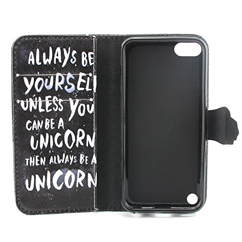 iPhone 5C Hülle, ISAKEN iPhone 5C Hülle Muster, Handy Case Cover Tasche for iPhone 5C, Bunte Retro Muster Druck Flip Cover PU Leder Tasche Case Schutzhülle Hülle Handy Tasche Etui Schale mit Standfunk Schwarz Muster Always be Yourself