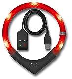 Leuchtie LED Leuchthalsband Plus Easy Charge rot Größe 42,5 USB Akku LED Halsband für Hunde