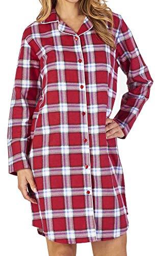 Slenderella Damen Luxus-rot-Check-Print 100% weiche Baumwolle Flannel 7 Knopf Lange Ärmel Nacht Shirt klein -