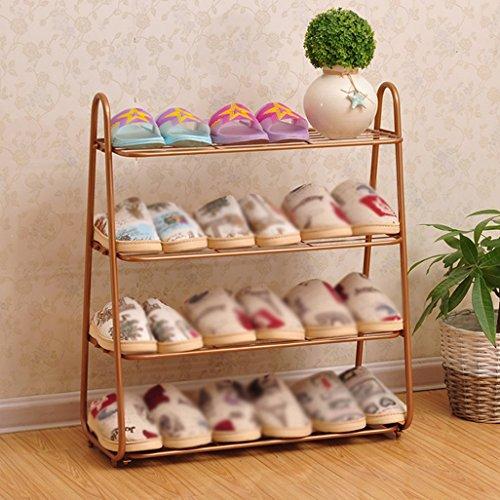 Eisen-Schuh-Rack 4-Tier-Aufbewahrungsschränke Möbel Organizer Regale ( Farbe : Messing )