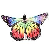 WOZOW Damen Schmetterling Schmetterlingsflügel Kostüm Karneval Fasching Faschingkostüme Poncho Schal Tuch Umhang für Party Cosplay (Mehrfarbig 1)