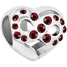 Abalorio de pulsera con forma de corazón con cristales