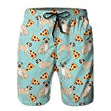 khgkhgfkgfk Men¡¯s Summer Casual Drawstring Funny Vector Dogs Pug Puppies Pattern Pizza Beach Shorts