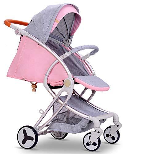 TZQ Kinderwagen Kinderwagen Reisesystem 3 In 1 Kombi Kinderwagen Buggy Baby Kind Kinderwagen Moskitonetz Flaschenhalter,Pink