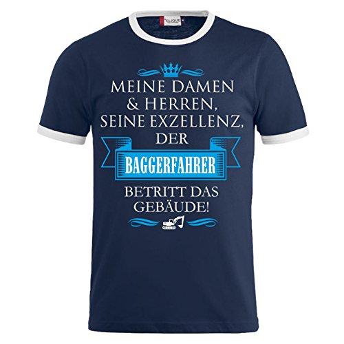Männer und Herren T-Shirt Seine Exzellenz DER BAGGERFAHRER Dunkelblau/Weiß