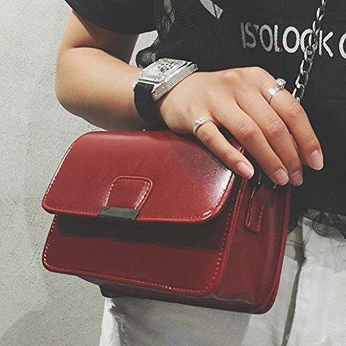 BZLine® Frauen Leder Handtasche Umhängetasche Schultertasche Tote Bag, 20*13*7cm Weinrot