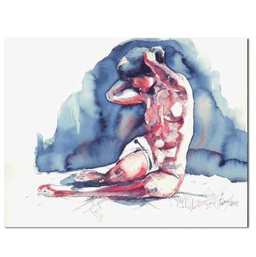 Original Aquarell erotisches Gemälde weiblicher Akt nackte Frau Gemälde Malerei Painting by B. IVKOV handgemalt Kunst Bilder Malerei