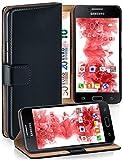 moex® Booklet mit Flip Funktion [360 Grad Voll-Schutz] für Samsung Galaxy J1 (2015)   Geldfach & Kartenfach + Stand-Funktion & Magnet-Verschluss, Schwarz