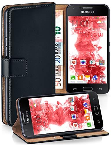 moex® Booklet mit Flip Funktion [360 Grad Voll-Schutz] für Samsung Galaxy J1 (2015) | Geldfach und Kartenfach + Stand-Funktion und Magnet-Verschluss, Schwarz