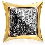 0.13Quilates (de quilate) redondo blanco & negro Diamante Micro Pave Setting cometa forma Stud Pendientes (sólo 1pieza)