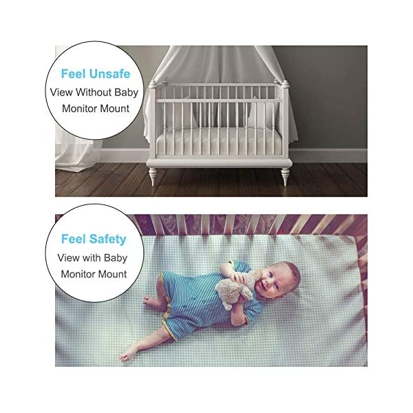 """Eurobuy Baby Camera Monitor Mount, 360 Degrees Rotatable Adjustable Holder, Keep Your Baby in Sight, Suitable for Most Baby Monitors Equipment Eurobuy ☺【Always Keep An Eye On Your Baby】- This upgraded baby camera mount adopts cardan joint and supports 360 degree rotation, helps you take better care of your care. ☺【Compatible With Most Cameras】- With a adjustable mount, suitable for camera bottom diameters from 52mm to 100mm, as well as baby cameras with 1/4"""" threaded or tripod mount. ☺【Protective Guard & Anti-skid Silicone Pad】- Protective guards of clip help to hold the camera more stable and firmly; Soft anti-skid silicone pas to protect your device from scratches. 4"""